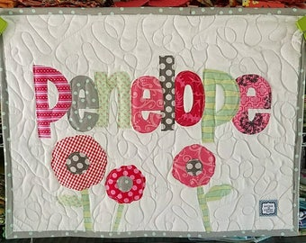 Little Lovie personalized name quilt with applique design, raw edge applique, 18 x 24, wallhanging, car seat cover, doll quilt, puppy quilt