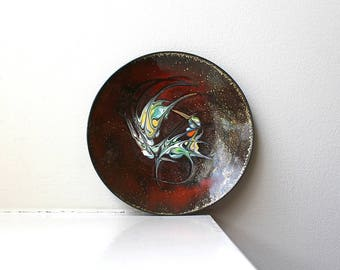 Modernist Enamel Pin Trinket Dish Signed Plate Abstract Rust Gold 1960's