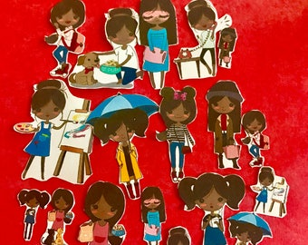 Adulting Diva 3 African American 19 decorative planner stickers will fit most planers