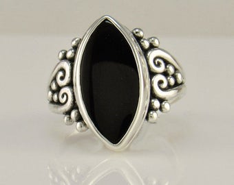 R1024- Sterling Silver Ring with Marquise Black Onyx- One of a kind