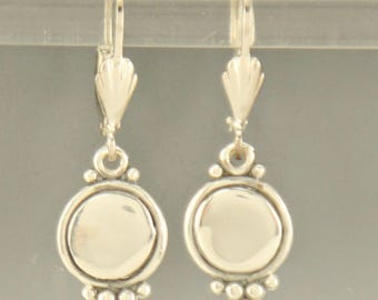 ER567- Sterling Silver Round Dangle Earrings- One of a Kind