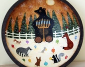 RESERVED FOR  ALISONBENDELSTEIN - Primitive Folk Art Hand Painted Hanukkah Bowl - Woodland Animals, Dreidels, Bear with Menorah,