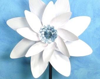 White Flower witth Crystal Double Spin Pinwheel Whirligig Spinner Windmill Fan