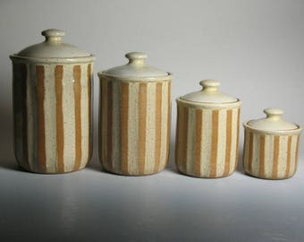 4 piece canister set, stoneware, pottery