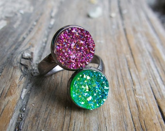 Druzy Double Ring Gifts For Teens Jewelry Her Funky Quirky Jewellery Silver Blue Modern Resin Faux Unique Kitsch Unique Pretty Drusy