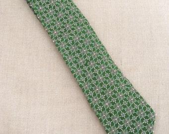 Silk Ties, Floral, Mens Neck Ties, Flowers, Green, Neckties, Hand Embroidered, Handmade, Wil Shepherd, Vintage, Neck Wear, Up Cycled, Preppy