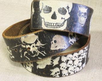 Skull Belt, Black Leather, Mens Belt, Goth, Punk Rock, Skeleton, Glow in the Dark, Wide Belt, Metal Buckle, Rocker Belt, Rock Star, Belts