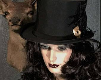 Gothic Antique Top Hat with Mask Brooch & Old Stetson Hat Box at Gothic Rose Antiques