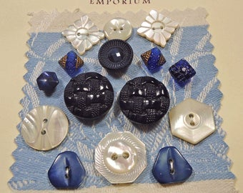 Vintage buttons - mixed card of blue glass and pearl (Ref C38)