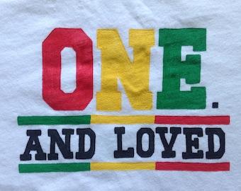 ONE Onesie, ONE And Loved,One Love One Life,One Love Onesie, Raggae One Love Theme Birthday Party,Rasta 1st  Birthday Shirt or Onesie,unisex