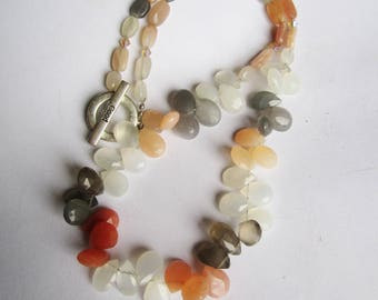 Moonstone Necklace ./. Multicolored Stones ./. Mixed Color Necklace ./. Collier Pierres ./. Gemstone Jewelry ./. Faceted Moonstones