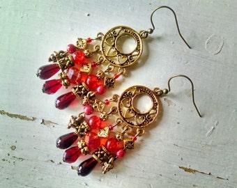 Bohemian chandelier earrings, Bohemian gypsy hippie long Gold chandelier statement earrings with red and orange crystal