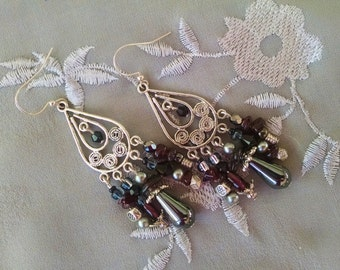 Garnet chandelier earrings, Long bohemian Hippie silver chandelier earrings with gray pearl, black crystal, hematite, and garnet