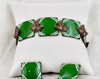 Renoir Copper Leaf & Green and White Geometric Glass Enamel Bracelet, Earring set