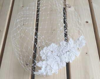 Champagne or Ivory, Bridal Birdcage Veil, Blusher Veil, English Merry Widow Veiling mini Veil