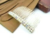 Aurora Borealis Rhinestone Hair Comb. Light Jonquil Yellow, Gold Ball Chain Edge. Vintage 1950s Hair Ornament. Bridal, Bridesmaid Accessory