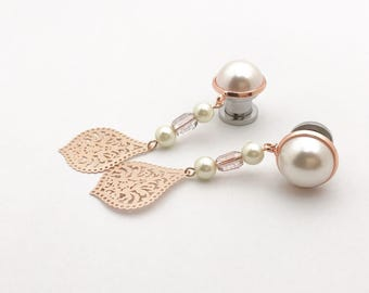 "2g Rose Gold Plugs 0g Ear Plugs 6g 4g Pearl Dangle Plugs 7/16"" 000g 00g 11mm 10mm 8mm 6mm 5mm 4mm Gauge Bridal Dangle Teardrop Ear Plugs"