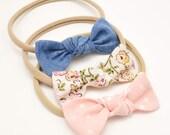Baby Bow Headband  - Small Knot Bow Set - Nylon Headbands - Knot Bow Headbands -Knot Clip - Blush Floral Chambray Headbands - Tiny Baby Bows