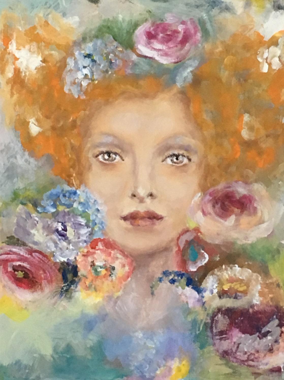 Ragazza con capelli rossi e corona di fiori dipinto