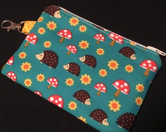 Teal Hedgehogs and Flowers Zipper Pouch with Swivel Clip - stocking stuffer, coin purse, teacher gift, knitting notions case