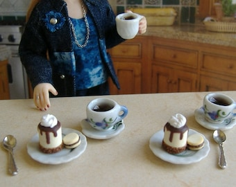 Miniature 1:12 Scale Dollhouse Dessert Plates And Coffee Cups