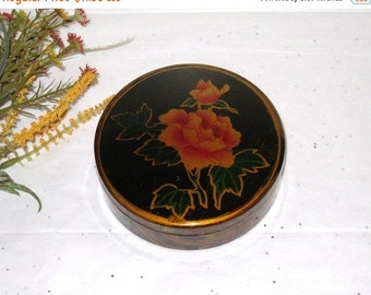 "Vintage Round Marbled Lacquerware Box With Rose / Hand Painted Black, Gold & Deep Red / 4 5/8"" X 1 3/4"""