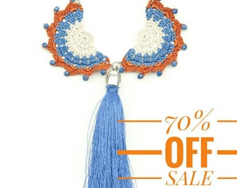 70% OFF Necklace-Bohemian Crochet Tassel Necklace, Crochet Tribal Long Necklace,Ethnic Style Blue Orange Jewelry,Fiber Art