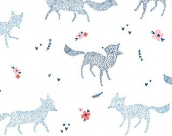 Pine Grove Dotted Foxes in White, Dear Stella Fabrics, 100% Cotton Fabric, Stella-699 White