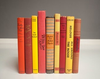 Vintage Colorful Book Collection - Red, Orange, and Yellow Books
