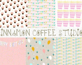 Happy Birthday Digital Papers, Cupcakes, Balloons, Pink, Mint, Birthday Party Texture, Pink Birthday Backgrounds