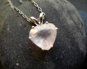 Genuine Rose Quartz Faceted Heart Solitaire Necklace  - 925 Solid Sterling Silver Chain - Everyday Necklace - Valentine's Day Gift - For Her