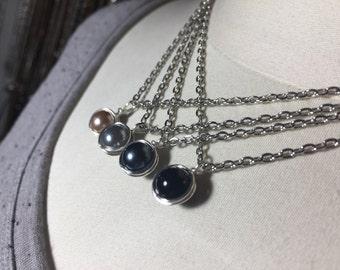 Delicate Pearl Pendant/Champagne, Grey, Charcoal, Black/Choose Your Color! Simplistic, Minimalist Necklace