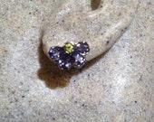 Vintage Handmade Sterling Silver genuine deep blue iolite stud button earrings