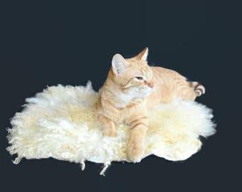 Cruelty Free, Cat Bed, Dog Mat, Pet Bed,  Sheep-friendly, Humane Sheepskin, Felted Wool Fleece, Pet Rug,Teeswater Sheep, Natural Pet Bed