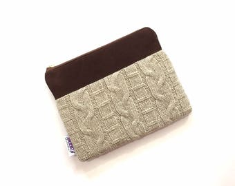 SALE - Cable Knit Sweater Wristlet in Oatmeal