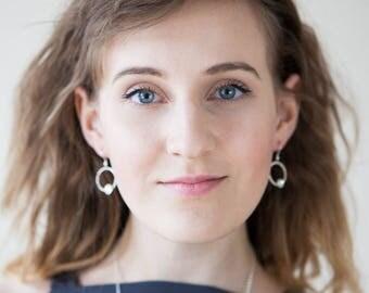 Silver Circle Earrings - Sterling Silver Drop Earrings By The Light - Geometric Earrings Bestie Gift