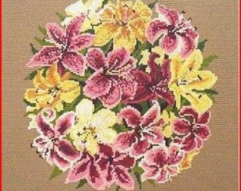 Circle Of Lilies Needlepoint Canvas New