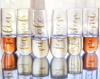 Single Personalized Bridesmaids Stemless Champagne Glass / Champagne Flute - Name in Gold