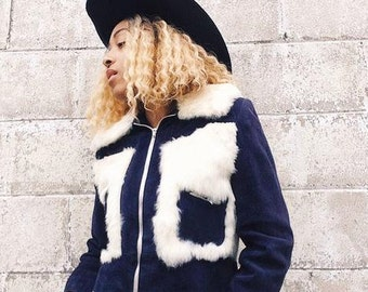 1950's Navy Suede and Rabbit Fur Cropped Jacket