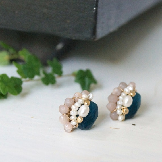Petite apatite wire wrapped cluster studs earrings