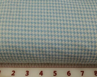Blue and White  Houndstooth Flannel Fabric 1 yard