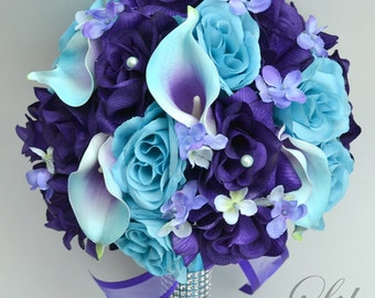 "17 Piece Package Wedding Bridal Bouquet Silk Flowers Bouquets Maid Bridesmaid PURPLE TURQUOISE MALIBU Blue Calla ""Lily of Angeles TUPU08"