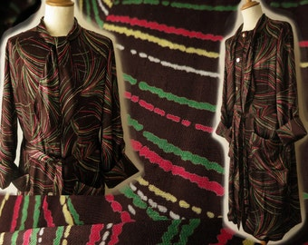 1950s vintage lush brown satin men's housecoat bathrobe atomic print fireworks  VLV rockabilly hepcat dressing gown 50s
