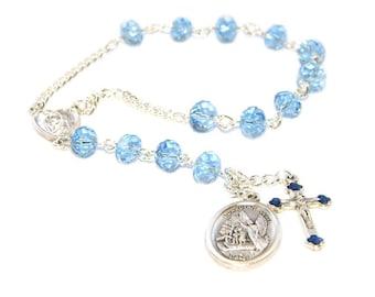 Guardian Angel Chaplet Rosary, Small Catholic Pocket Rosary Prayer Beads