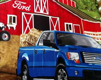 Colorful Ford Truck in front of barn ~ Fitted Baby Crib or Toddler Bed Cotton Sheet