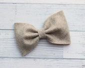 Sand {MILLIE} Bow - You Choose Nylon Headband or Alligator Clip - Felt Bow