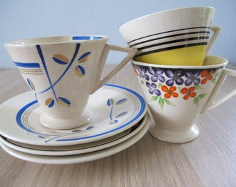 Vintage Set of 3 Hand Painted Art Deco Demi Cups and Saucers Gilman Portugal