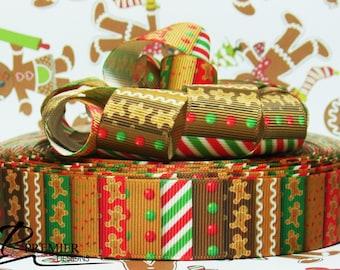 """1"""" Christmas Gingergread Man Grosgrain"""