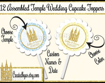 Temple Cupcake Toppers Custom Wedding Decorations Marriage cupcake picks Gold cake topper Personalized LDS temple cupcake top 12 assembled