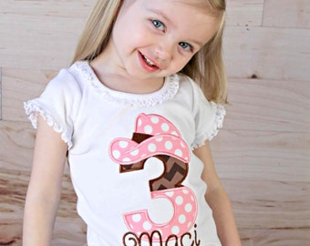 Girls Pink Cowgirl Birthday Shirt--Any Age or Number--Embroidered shirt or Bodysuit